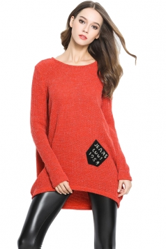 Womens Loose Pocket Decor Long Sleeve Pullover Sweater Tangerine