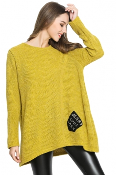 Womens Loose Pocket Decor Long Sleeve Pullover Sweater Yellow