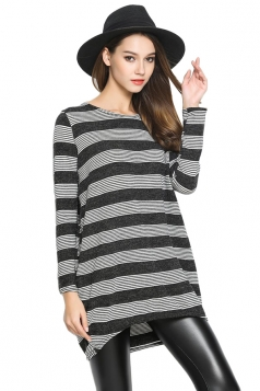 Womens Crewneck Striped Patterned Long Sleeve Pullover Sweater Black