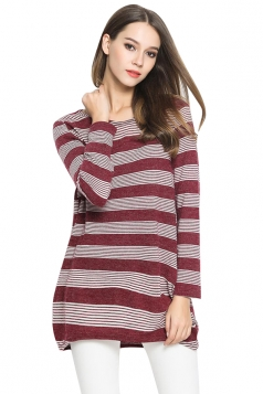 Womens Crewneck Striped Patterned Long Sleeve Pullover Sweater Ruby