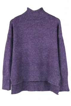 Womens Mock Neck High-low Long Sleeve Plain Pullover Sweater Purple