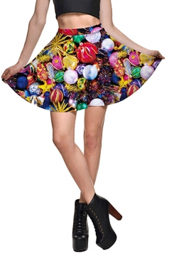 Womens High Waist Easter Painted Egg Printed Pleated Skirt Yellow