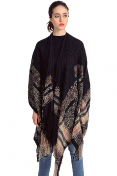 Womens Fringed Color Black Striped Shawl Scarf Black