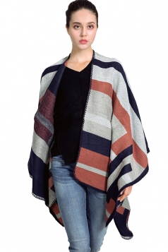 Womens Color Black Striped Patterned Thick Shawl Scarf Gray