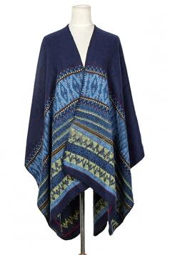 Womens Retro Geometric Patterned Warm Shawl Scarf Blue