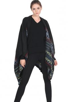 Womens Retro Geometric Patterned Warm Shawl Scarf Black