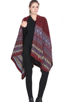 Womens Retro Geometric Patterned Warm Shawl Scarf Ruby