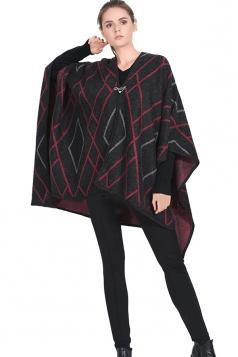 Womens Geometric Patterned Reversible Shawl Poncho Black