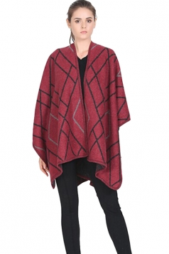 Womens Geometric Patterned Reversible Shawl Poncho Red