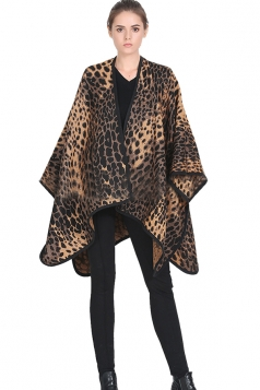 Womens Leopard Patterned Blanket Shawl Scarf Coffee