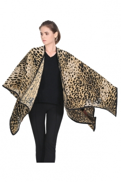 Womens Leopard Patterned Blanket Shawl Scarf Yellow