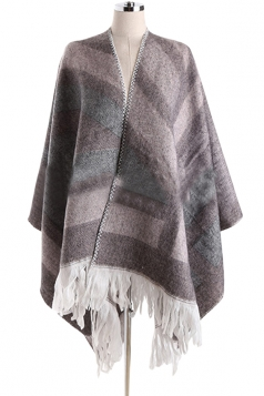 Womens Color Block Striped Fringed Blanket Shawl Scarf Gray