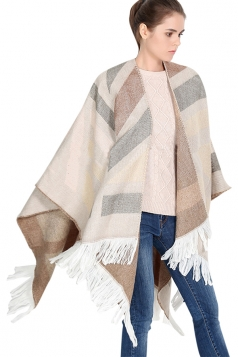 Womens Color Block Striped Fringed Blanket Shawl Scarf Khaki