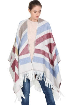 Womens Color Block Striped Fringed Blanket Shawl Scarf Red