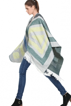 Womens Color Block Striped Fringed Blanket Shawl Scarf Yellow