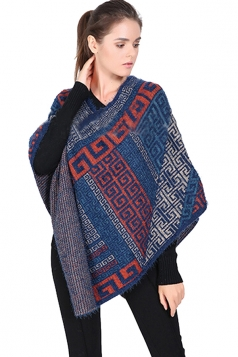 Womens Exotic Geometric Patterned Pullover Poncho Blue