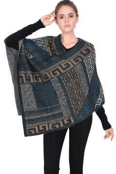 Womens Exotic Geometric Patterned Pullover Poncho Dark Gray