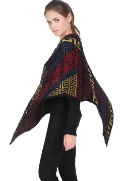 Womens Exotic Geometric Patterned Pullover Poncho Red