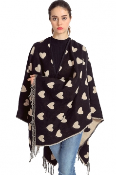 Womens Heart Patterned Fringed Thick Shawl Scarf Beige White