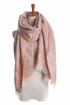 Womens Eyelash Fringed Embroider Floral Scarf Pink