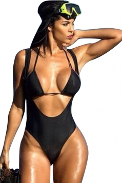 Womens Two-piece Plain Halter Cut Out Monokini Black