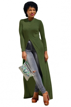 Womens Front High Slit Long Sleeve Floor Length T Shirt Army Green