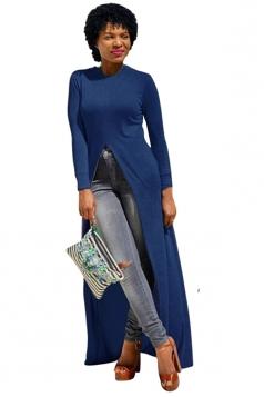 Womens Front High Slit Long Sleeve Plain Floor Length T Shirt Blue