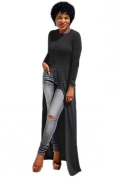 Womens Front High Slit Long Sleeve Plain Floor Length T Shirt Black