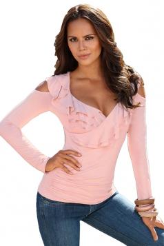 Womens Cold Shoulder Ruffled Neckline Long Sleeve Plain T Shirt Pink