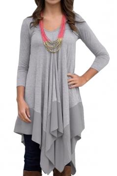 Womens V Neck Asymmetric Patchwork Hem Long Sleeve T Shirt Gray
