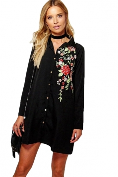 Womens Floral Embroidery Single-breasted Long Sleeve Blouse Black