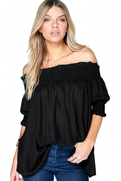 Womens Elastic Off Shoulder Short Sleeve Plain T Shirt Black