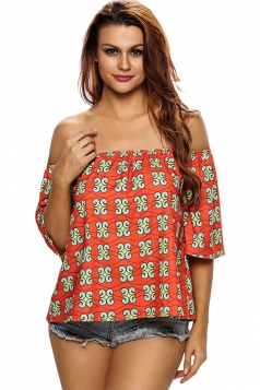 Womens Off Shoulder Exotic Printed 3/4 Length Sleeve Blouse Red