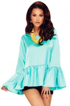 Womens Flare Long Sleeve High Low Plain Blouse Light Blue