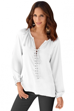 Womens Lace Up V-neck Long Sleeve Plain Chiffon Blouse White