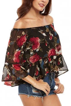 Womens Off Shoulder Floral Printed Ruffled Chiffon Blouse Black