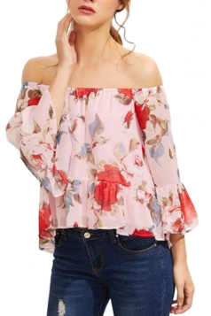 Womens Off Shoulder Floral Printed Ruffled Chiffon Blouse Pink