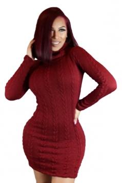 Womens Turtleneck Long Sleeve Bodycon Plain Sweater Dress Ruby