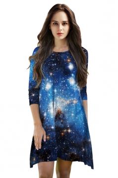 Womens 3/4 Length Sleeve Galaxy Printed Smock Dress Blue