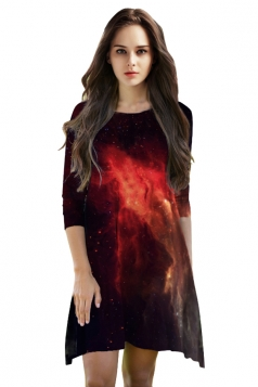 Womens 3/4 Length Sleeve Galaxy Printed Smock Dress Black