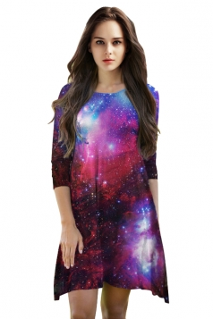 Womens 3/4 Length Sleeve Galaxy Printed Smock Dress Dark Red