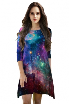 Womens 3/4 Length Sleeve Galaxy Printed Smock Dress Purple
