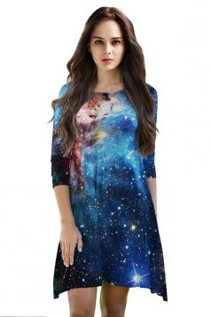 Womens 3/4 Length Sleeve Galaxy Printed Smock Dress Sapphire Blue