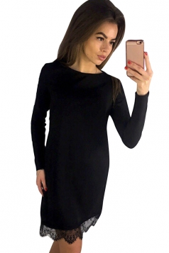 Womens Long Sleeve Lace Patchwork Hem Dress Black