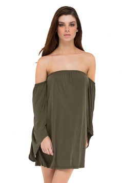 Womens Off Shoulder Long Flare Sleeve Plain Tube Dress Army Green