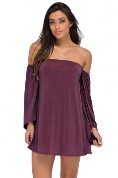 Womens Off Shoulder Long Flare Sleeve Plain Tube Dress Purple