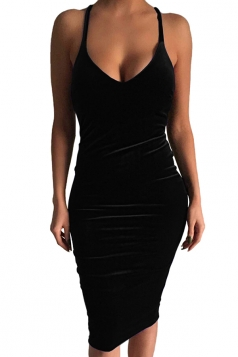 Womens Sexy Sleeveless Midi Bodycon Dress Black