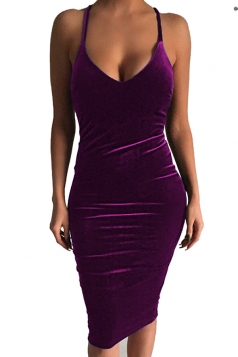 Womens Sexy Sleeveless Midi Bodycon Dress Purple