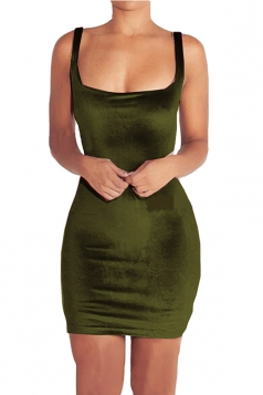 Womens Square Neck Backless Sleeveless Plain Bodycon Dress Green