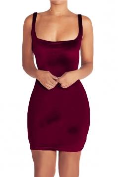Womens Square Neck Backless Sleeveless Plain Bodycon Dress Ruby